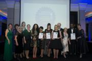 Clinical Research Awards  L to R: Claire Fish, Shirley Cocks, Linda Rainford, Louise Dawson, Lisa Murthen, Montana Mullen, Raksha Mistry, Alison Loftus, Emma McKenna, Dr Andrew Hutchesson, Beatrice Fox, Dr Arun Kallat, Wendy Morrison (12400916)