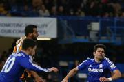 Chelsea's Diego Costa falls to the ground against Hull