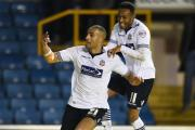Darren Pratley celebrates his winning goal against Millwall with Rob Hall