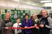 Mandy Barker Manager of Westhoughton Library, Marley Comerford, Julie Hilling MP, Pearl Halliwell and Malcolm Comerford