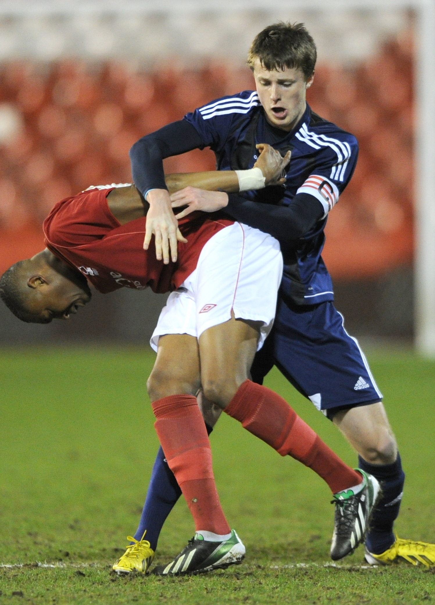 Niall Maher in action for Wanderers in the FA Youth Cup quarter final against Nottingham Forest