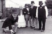 Members of Ridgway Bowling Club in Blackrod celebrate its centenary in 1987