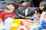Childcare and education minister Sam Gymiah visiting St Bede Academy in Morris Green Lane in December last year