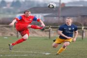 Ladybridge's Gaz Whiteside, left, in action against CMB's Callum Yearsley