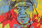 ART: One of the pictures from the Zac's Youth Bar art exhibition of Mother Teresa and handprints