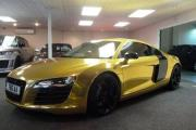 BLING: Customised Audi R8 with a chrome gold wrap and diamond-encrusted badge is being sold at Bolton garage AA Performance for £52,995