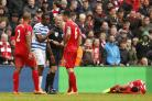 QPR's Nedum Onuoha is sent off by referee Martin Atkinson after a second caution at Anfield last Saturday