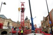 The crane at the Market Place, Bolton which is being built to hoist the girders as the new cinema is constructed