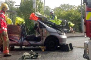 UPDATED: Woman cut from car after Crompton Way crash