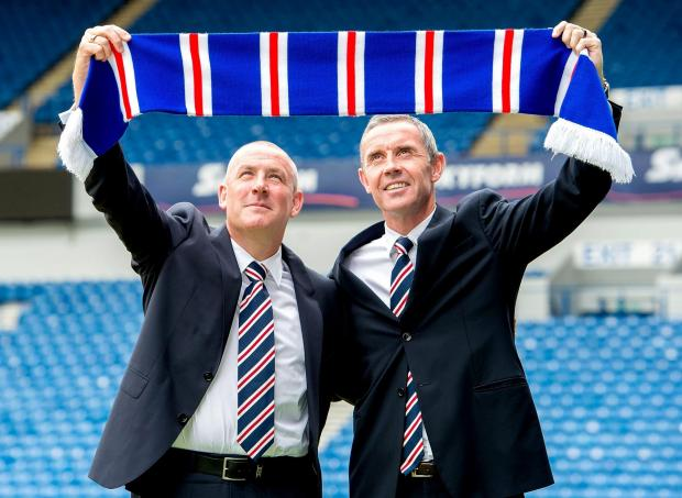 The Bolton News: 15/06/15.IBROX - GLASGOW.New Rangers manager Mark Warburton (left) and his assistant and former club star David Weir get unveiled at Ibrox.. (29446971)