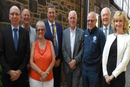 DONATIONS: Turton Rotary Club presentation. From left Andrew Grant (Lagan's Foundation), Ernest Holden (Bolton Dementia Support), Janice McCann (LUPUS UK), Mr Turner, Stuart Longworth (Marie Curie), Gary Rhodes (Bolton Mountain Rescue), Neil Cliffe (Neil