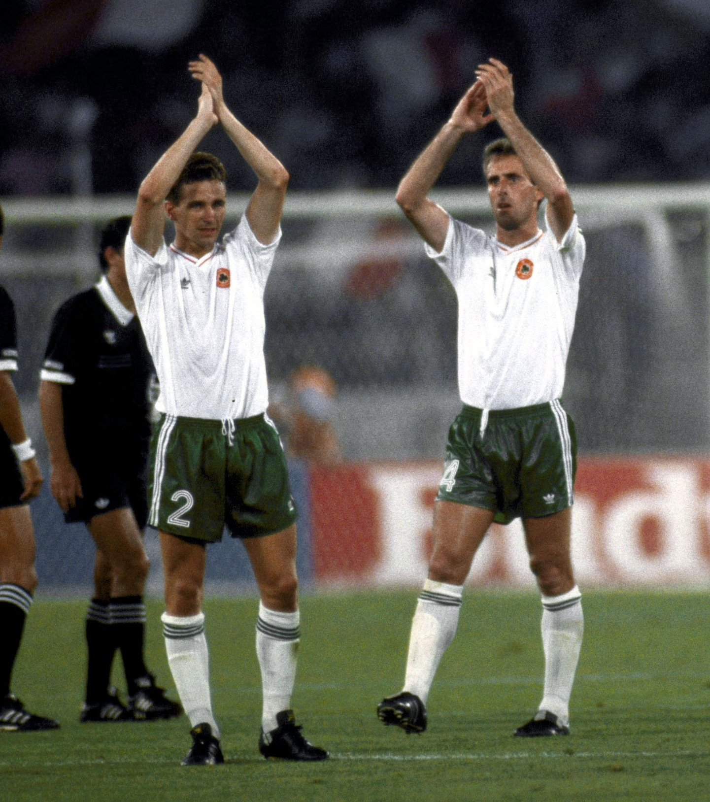 English-born duo Chris Morris (left) and Mick McCarthy after the Republic of Ireland's defeat to hosts Italy in the 1990 World Cup
