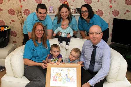 SUPPORT: Pictured at Lagan's Foundation are (back row) Paul and Deniece Hinchliffe with baby Erin and fundraiser Tracey Wilkinson. Front, Carren Bell with Lochlyn Grant, Jake Hinchliffe  and Andrew Grant.