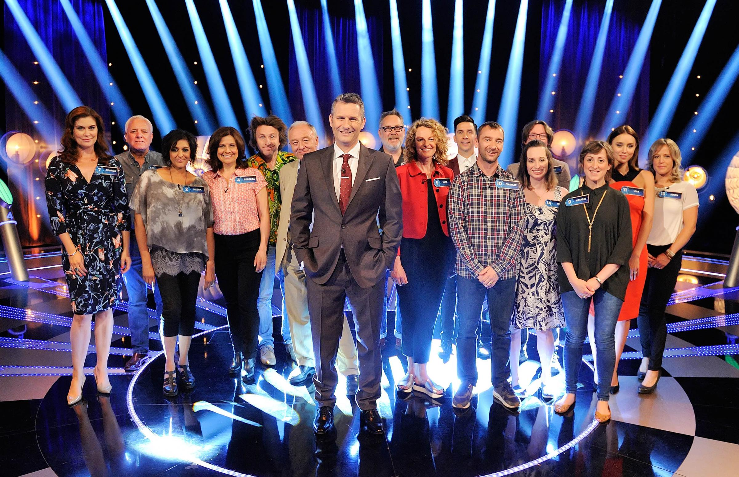 CONTESTANTS: From left to right, Amanda Lamb, Dave Spikey, Meera Syal, Rebecca Front, Milton Jones, Ken Livingstone, Adam Hills, Vic Reeves, Kate Humble, Russell Kane, Charlie Condou, Ed Byrne, Isy Suttie, Natalie Cassidy, Una Foden, Jenny Jones