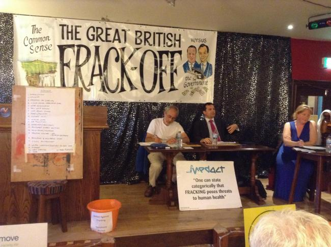 GRILLED: Chris Green (right) fields questions from Bolton Against Fracking
