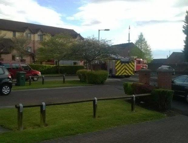 BLAZE: Emergency crews at the scene of the incident