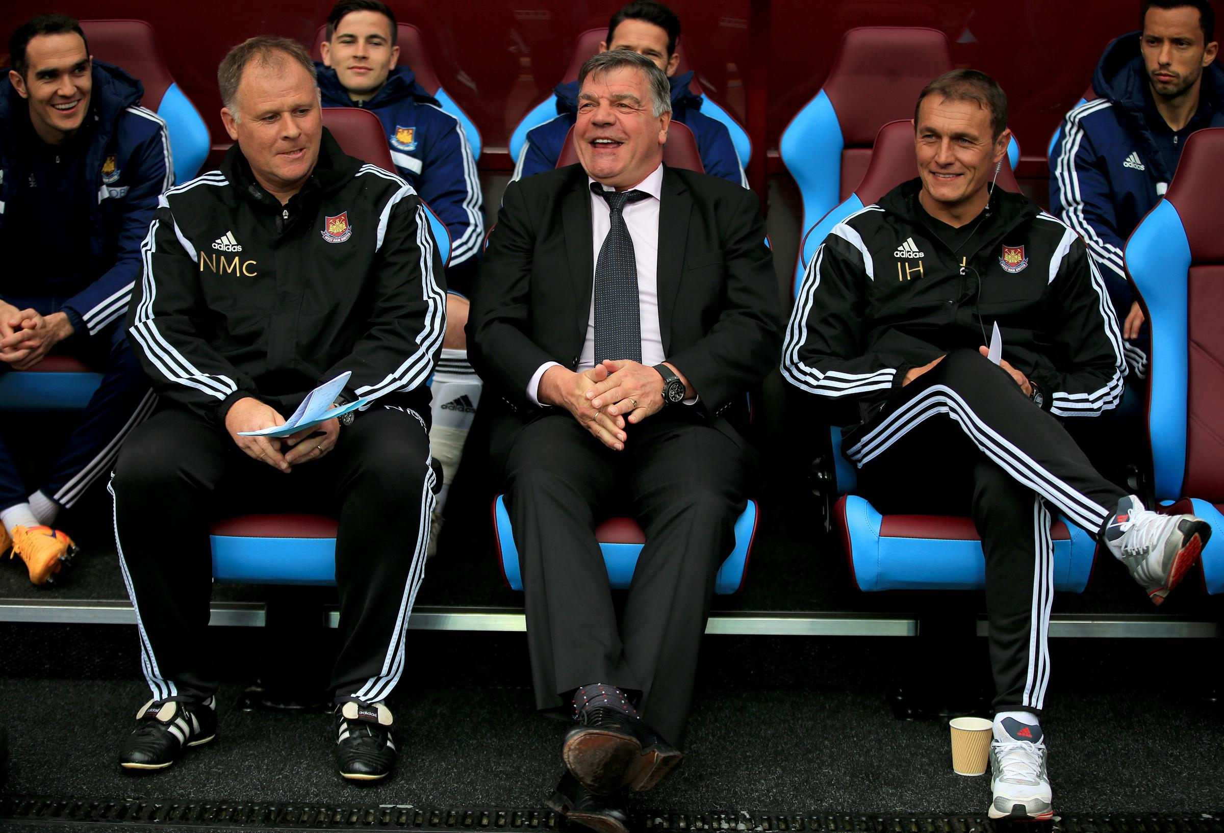 PICTURED: West Ham United manager Sam Allardyce (centre) with assistant Neil McDonald (left) and first-team coach Ian Hendon before a Premier League match at Villa Park
