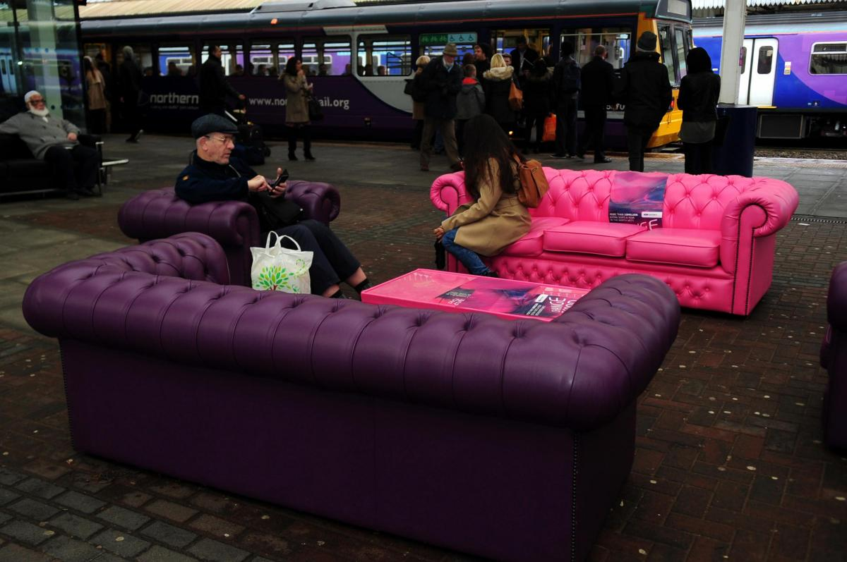 Twitter Reacts As Northern Rail Installs Hot Pink Sofa At Bolton Rail  Station 'to Celebrate Extra Seats On Trains'