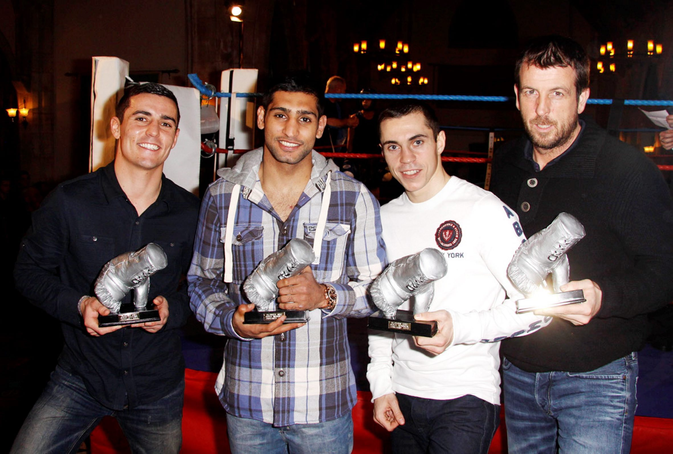 READY: Bolton-based boxers, from left, Anthony Crolla, Amir Khan and Scott Quigg with trainer Joe Gallagher, right