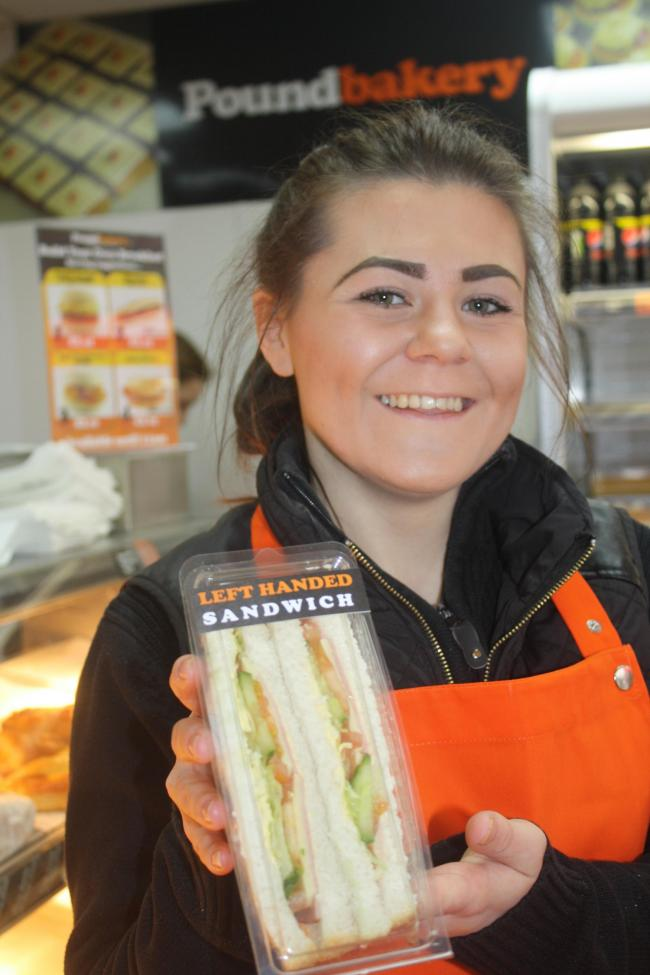 BUTTY: Left-handed Poundbakery worker Gemma Hall with one of the new sandwiches