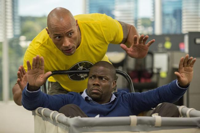 Undated Film Still Handout from Central Intelligence. Pictured: Dwayne Johnson as Bob Magnum and Kevin Hart as Calvin Joyner. See PA Feature FILM Digest. Picture credit should read: PA Photo/Universal. WARNING: This picture must only be used to accompany