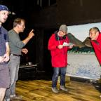 The Bolton News: REHEARSAL: Phoenix Theatre Company members Ben Latham, Richard Leigh, Connor O'Beirne and Matt Seber prepare for Neville's Island
