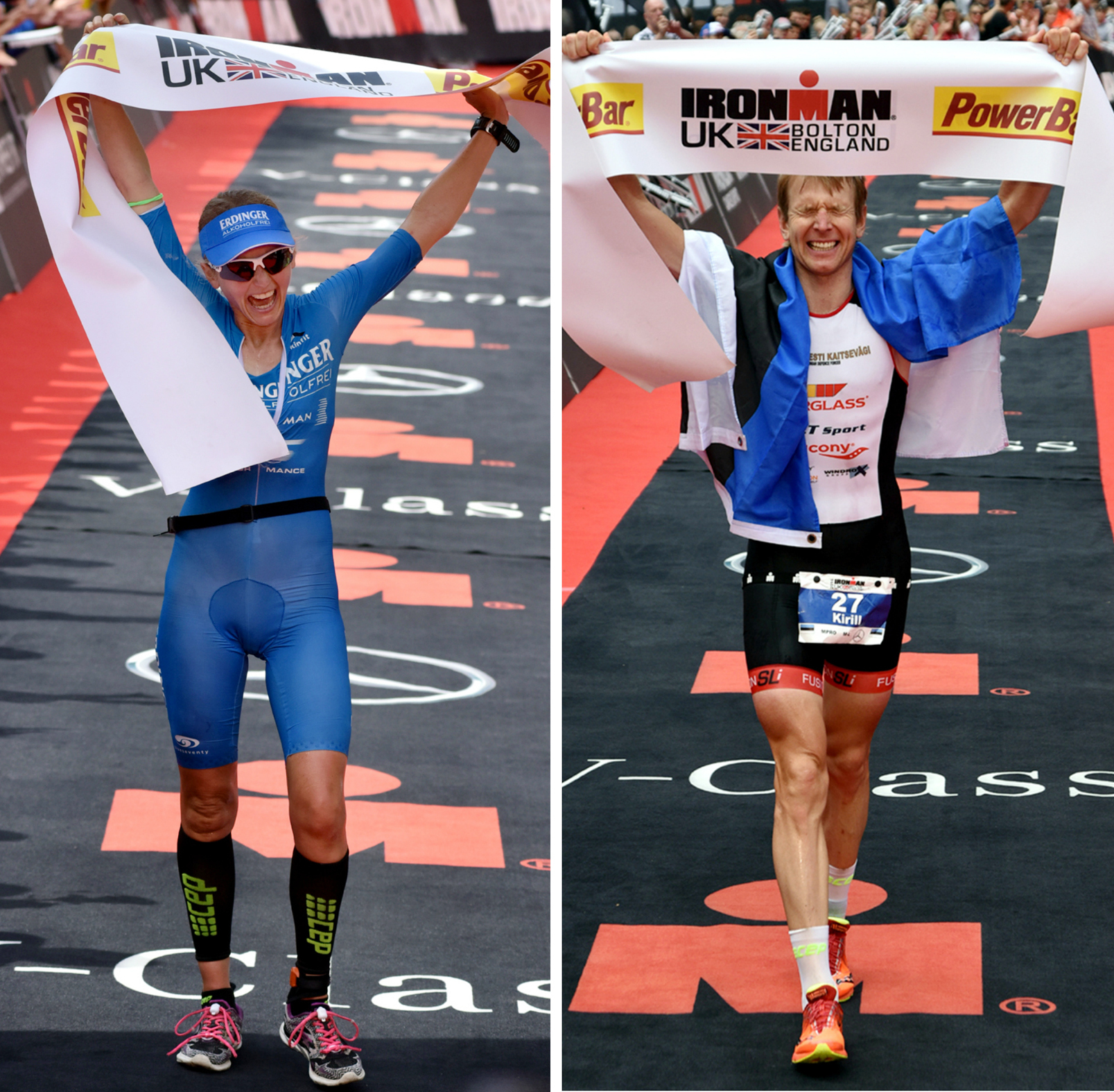 WINNERS: From left, Lucy Gossage and Kirill Kotsegarov crossing the finish line at Ironman 2016.