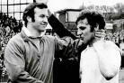 Jimmy Armfield, left, congratulates Warwick Rimmer after Bolton seal the 1972/73 Third Division championship