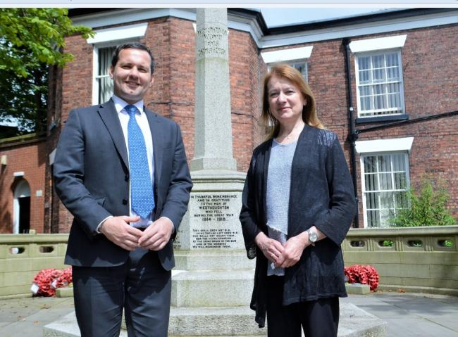 CAMPAIGN: Chris Green MP with Joan Humble (former MP for Blackpool North & Fleetwood and Civic Voice trustee) at Westhoughton War Memorial