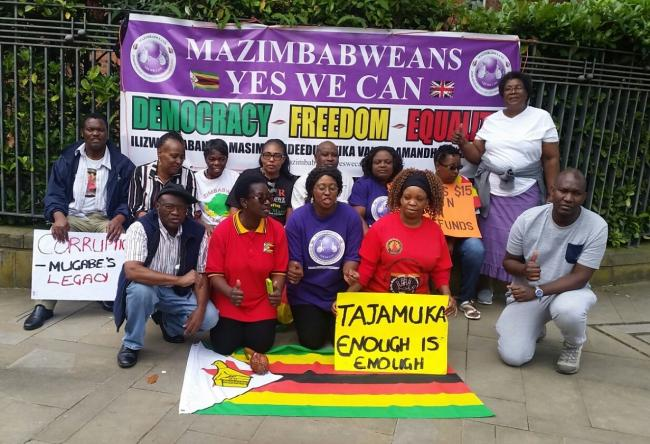 Zimbabwean protestors at the demonstration in Manchester