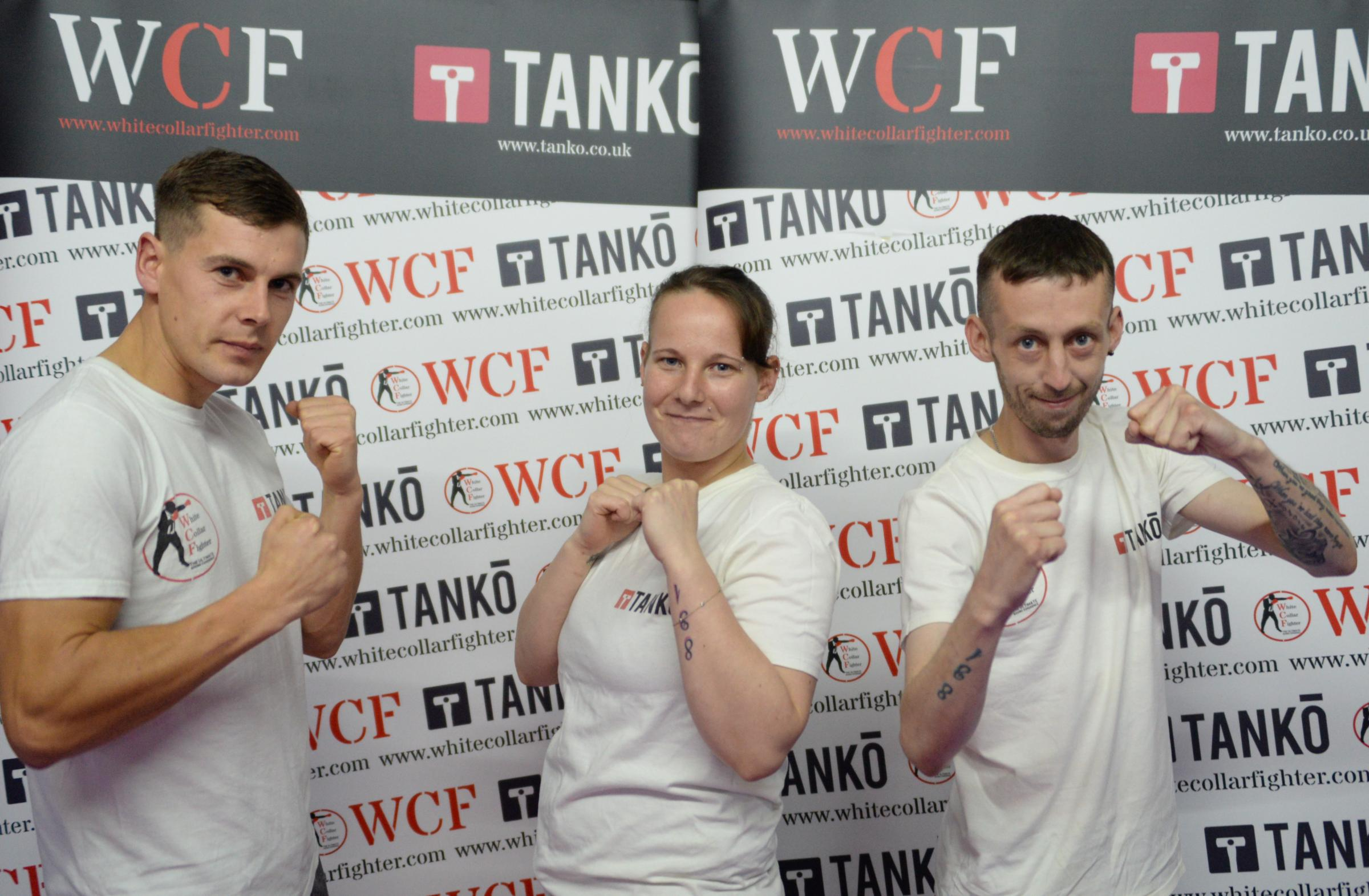 FUNDRAISERS: From left Kieran Melia, Sarah Myatt and Jamie Dickinson will be stepping in to the ring