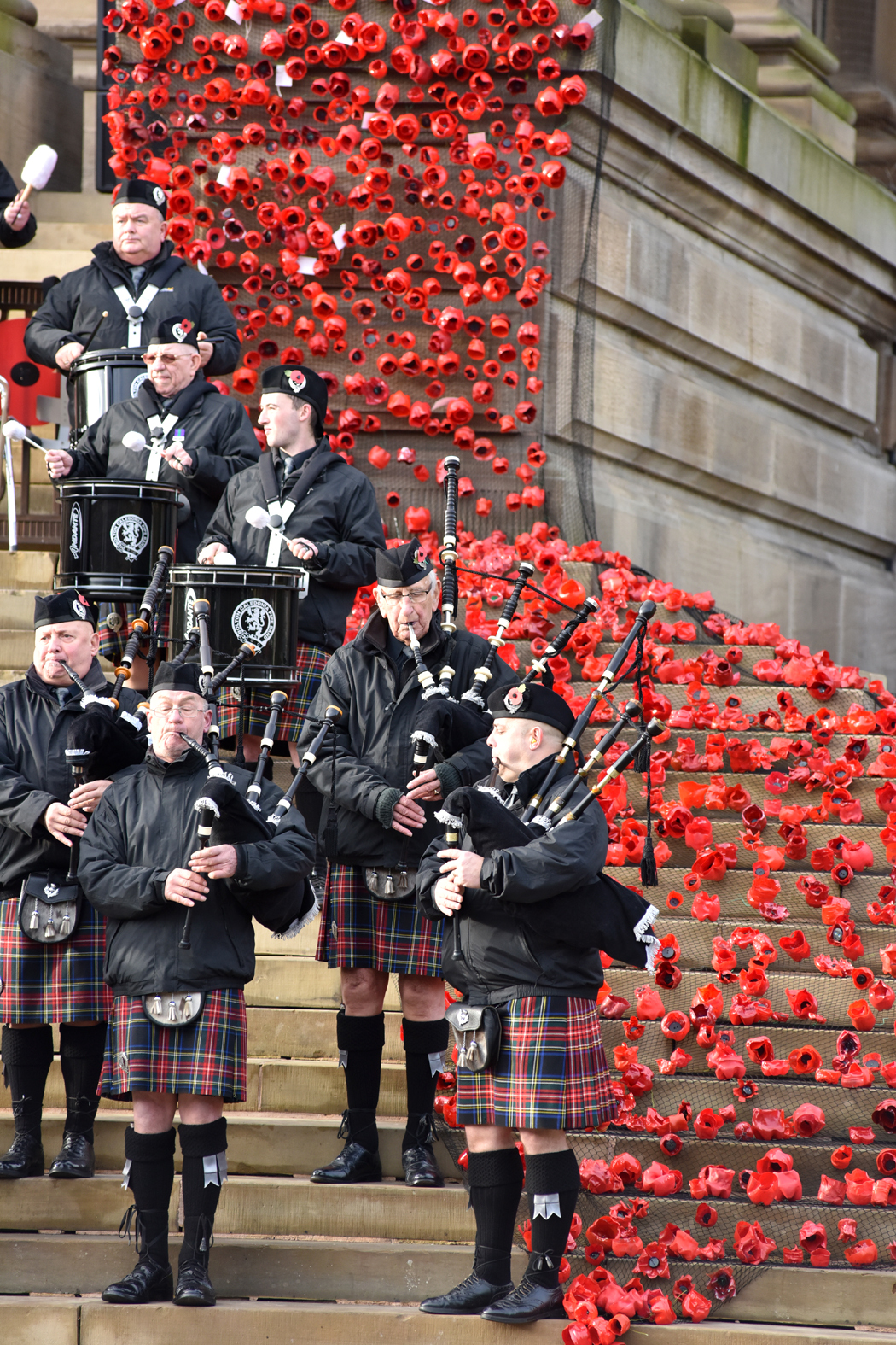 Bolton Victoria Square, remembrance Caledonia Pipe Band..Pictures by Richard Holton 13th Nov 2016.