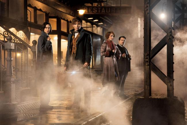 Eddie Redmayne as Newt Scamander, Katherine Waterston as Propentina, Dan Fogler as Jacob Kowalski and Alison Sudol as Queenie PIC: PA Photo/Warner Bros