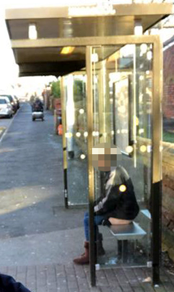 Man's shock as he spots woman sat weeing on bus stop bench in broad daylight