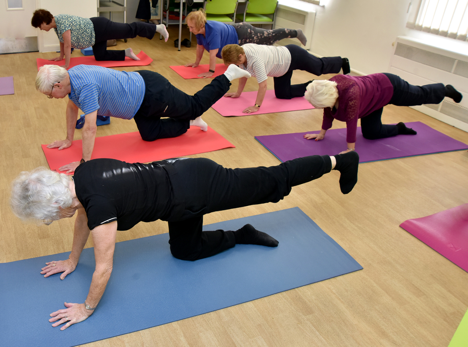 Participants try out yoga at special Age UK sessions at Thicketford House Community Care Centre