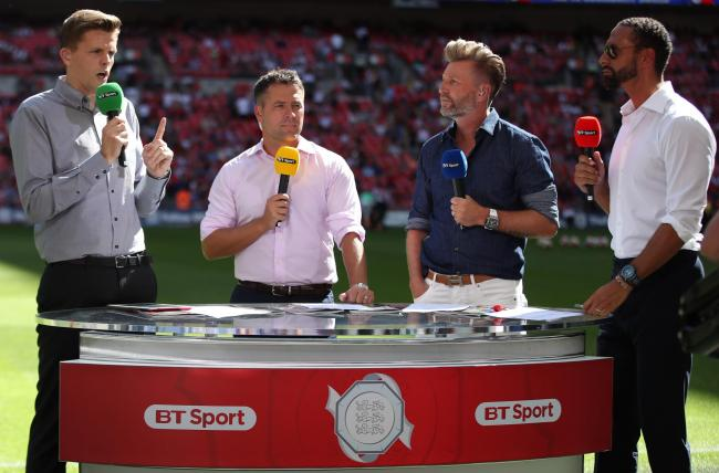 TV HELL: BT Sport's presenter Jake Humphrey, left, with pundits Michael Owen, Robbie Savage and Rio Ferdinand