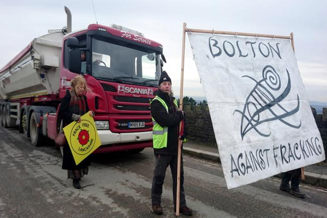 Anti fracking protest at Armstrongs on George's Lane, Horwich.
