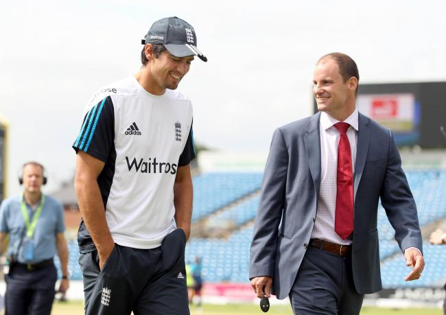 Cricket - England v Sri Lanka - Investec Test Series Second Test - Headingley - 24/6/14 England's Alastair Cook (L) with former captain Andrew Strauss before the start of play Mandatory Credit: Action Images / Ed Sykes Livepic EDITORIAL USE ONLY.