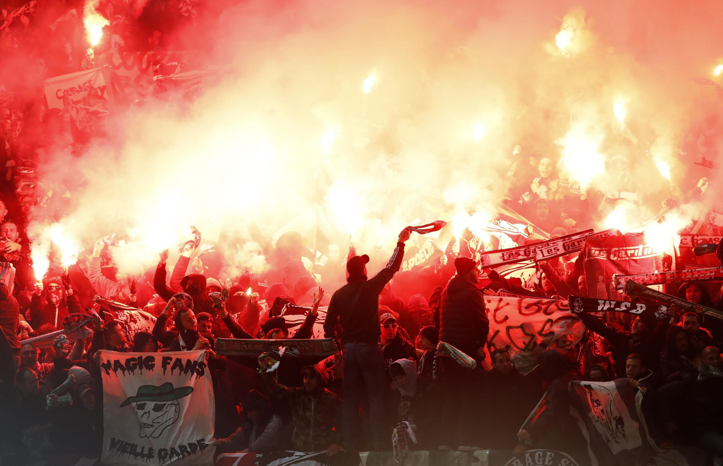 NOISY: Saint-Etienne fans made themselves heard in both legs of their Europa League tie against Manchester United