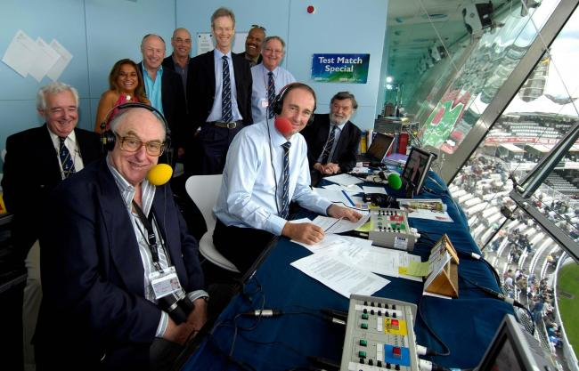 WIRED FOR SOUND: Henry Blofeld, front left, and the Test Match Special team are a cricketing tradition