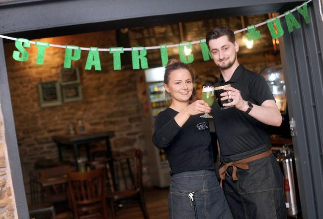 Great Ale in the Market Place, Bolton, celebrates St Patrick's Day with a green beer