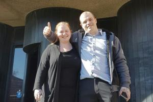 Anthony Marsden and his sister Louise outside Bolton Crown Court.