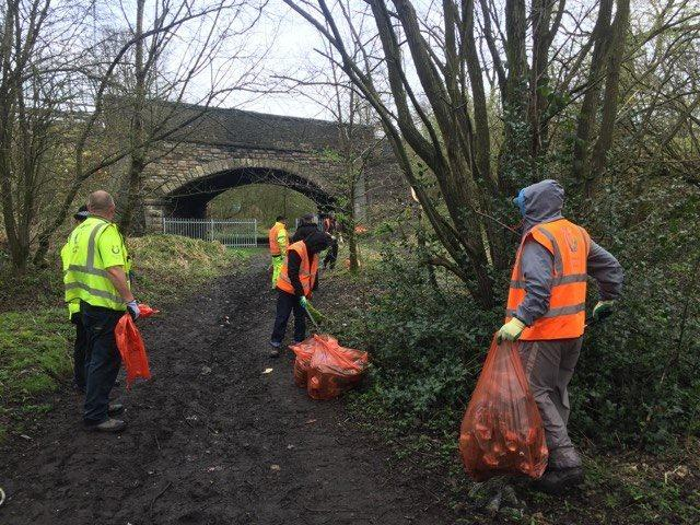 CLEAN-UP: Community Payback doing a litter pick.