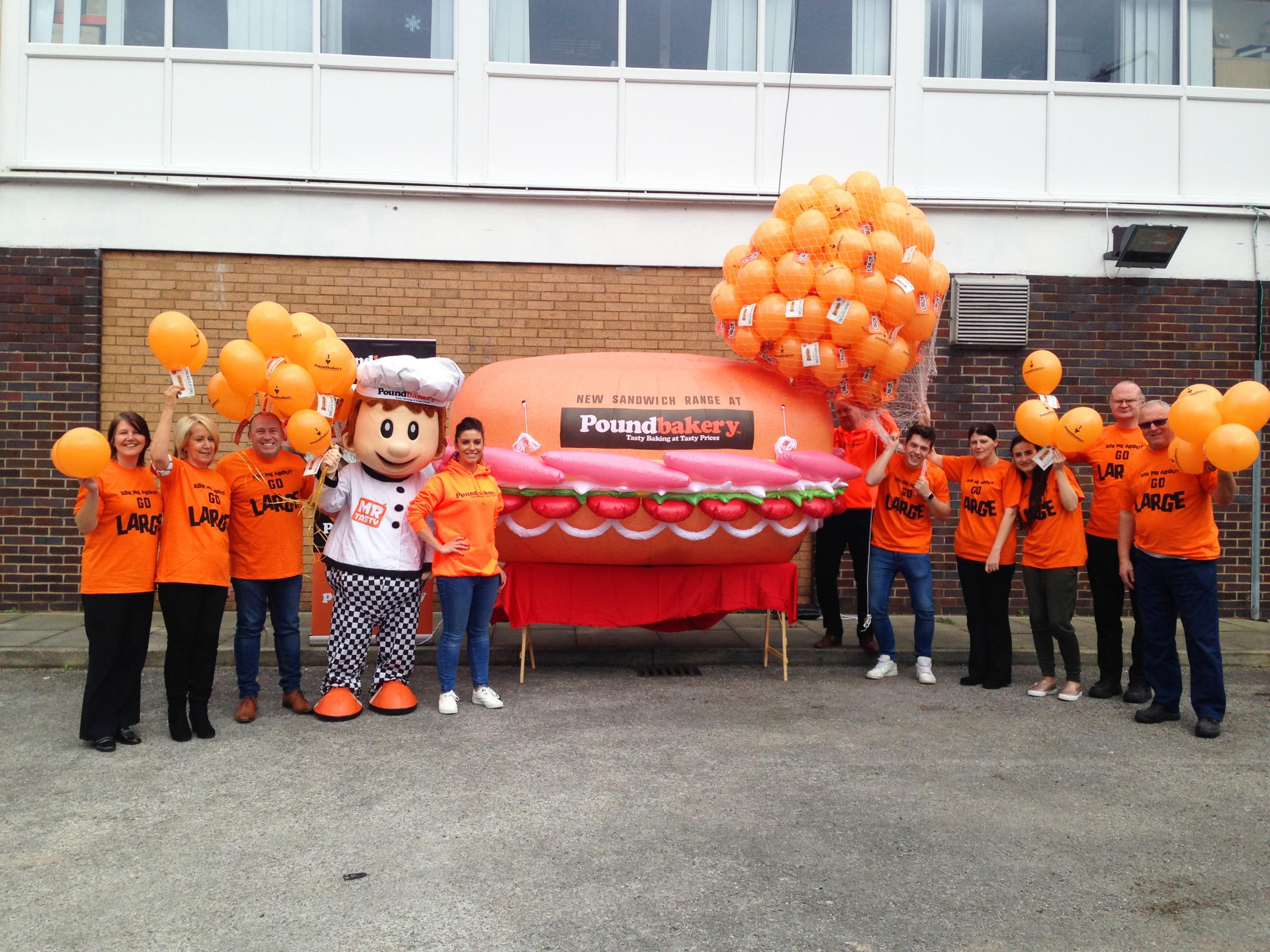 RELEASE: The balloons took flight from the Poundbakery's HQ in Sidney Street, Bolton