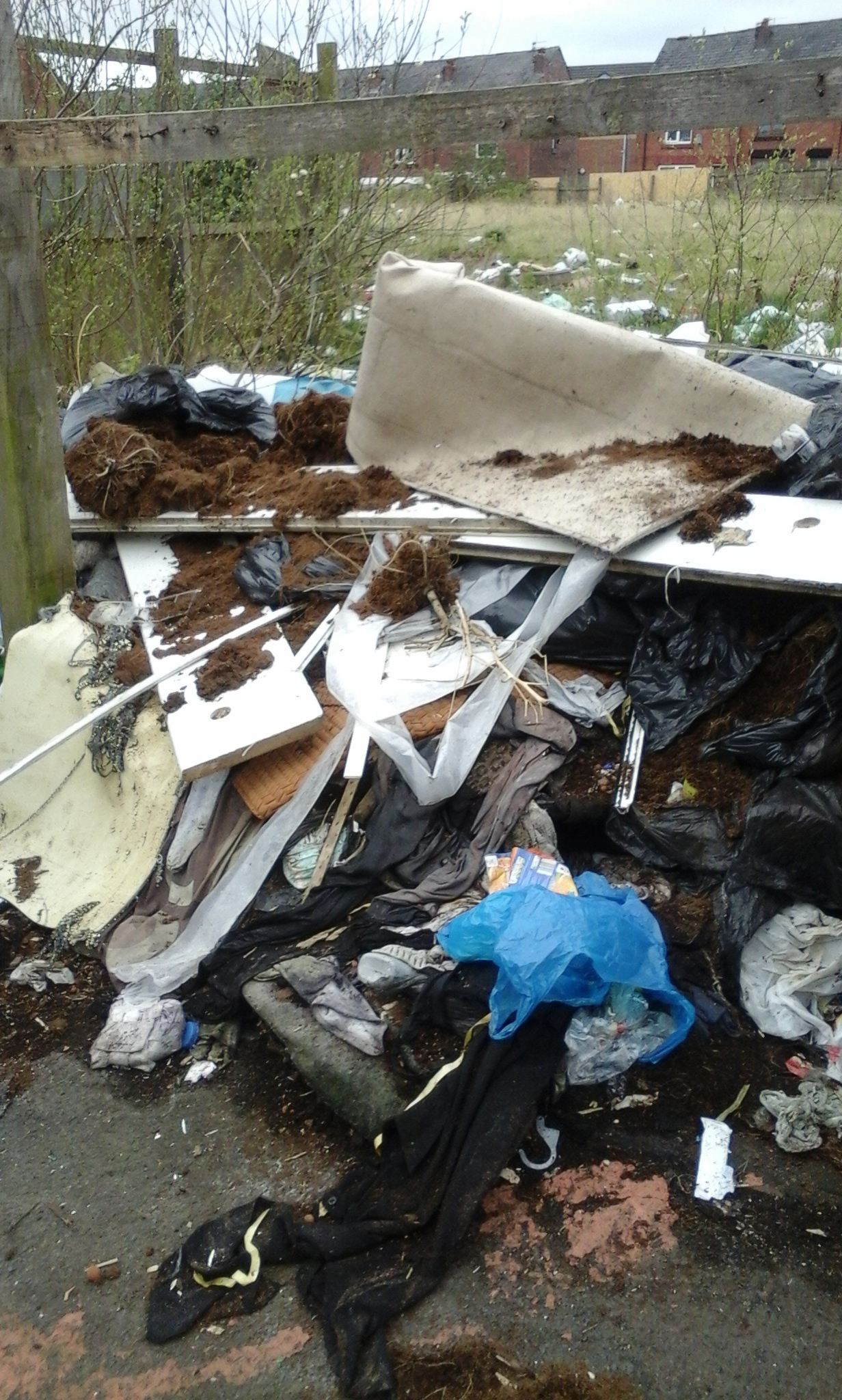 Flytipping at site of Former Rope Works, Daubhill in April 2017