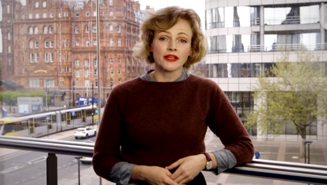 Maxine Peake in a Labour party political broadcast.