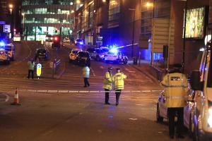 Emergency services at Manchester Arena after reports of an explosion at the venue during an Ariana Grande gig Peter Byrne/PA Wire