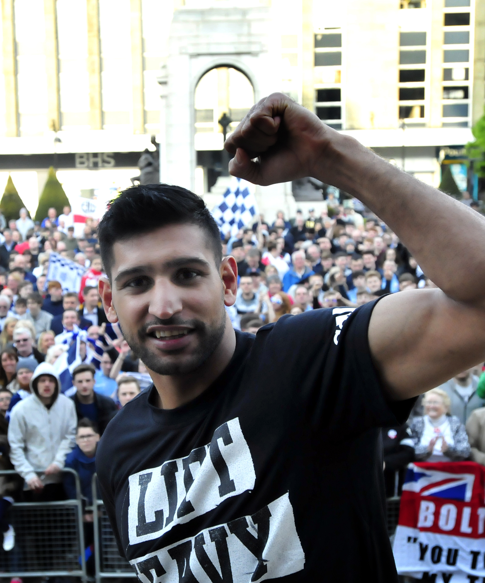 Amir Khan at the civic reception held for Bolton Wanderers on their promotion to The Championship.