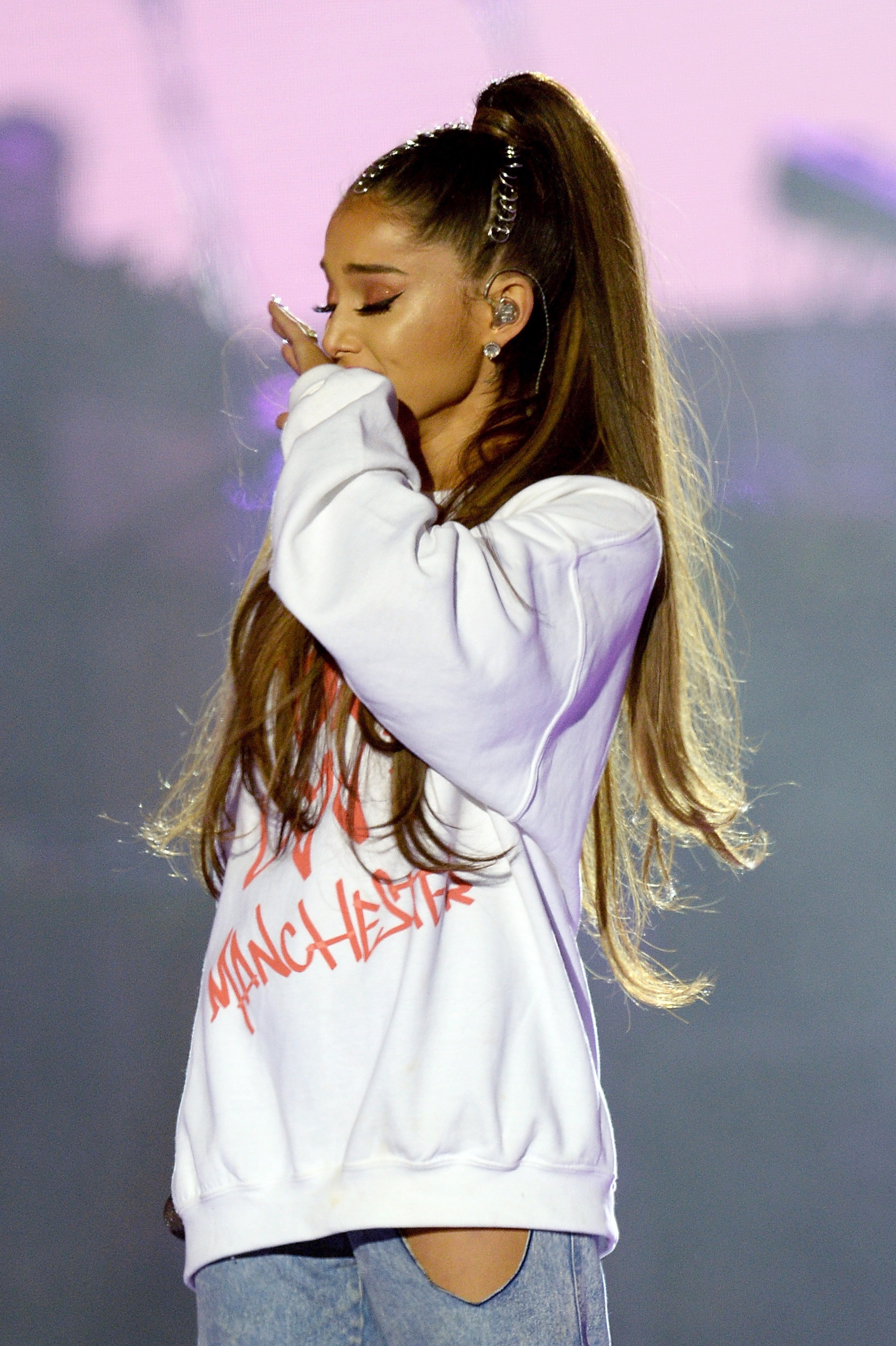 Ariana Grande performing during the One Love Manchester benefit concert for the victims of the Manchester Arena terror attack at Emirates Old Trafford, Greater Manchester. PRESS ASSOCIATION Photo.