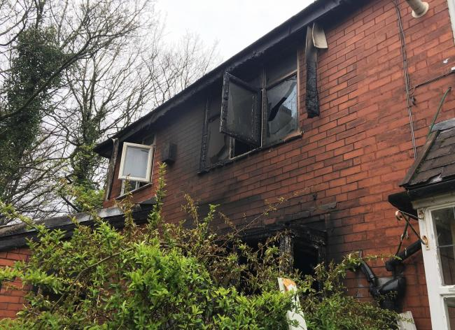Damage to the back of a property on Andrew Lane, Sharples after a house fire.